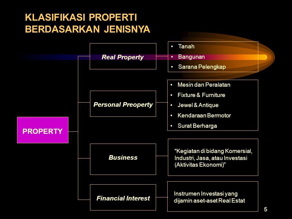 5 KLASIFIKASI PROPERTI BERDASARKAN JENISNYA Real Property •Tanah •Bangunan •Sarana Pelengkap •Mesin dan Peralatan •Fixture & Furniture •Jewel & Antiqu