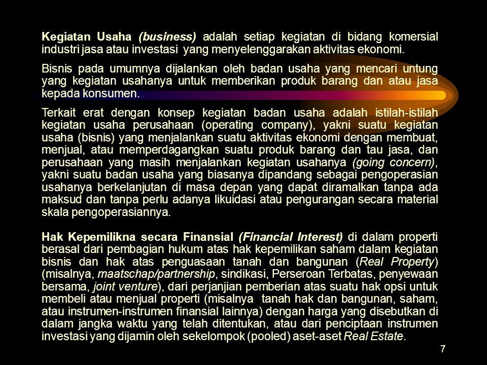 7 Kegiatan Usaha (business) adalah setiap kegiatan di bidang komersial industri jasa atau investasi yang menyelenggarakan aktivitas ekonomi. Bisnis pa