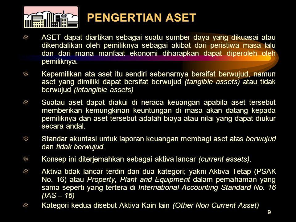 9 PENGERTIAN ASET TASET dapat diartikan sebagai suatu sumber daya yang dikuasai atau dikendalikan oleh pemiliknya sebagai akibat dari peristiwa masa l