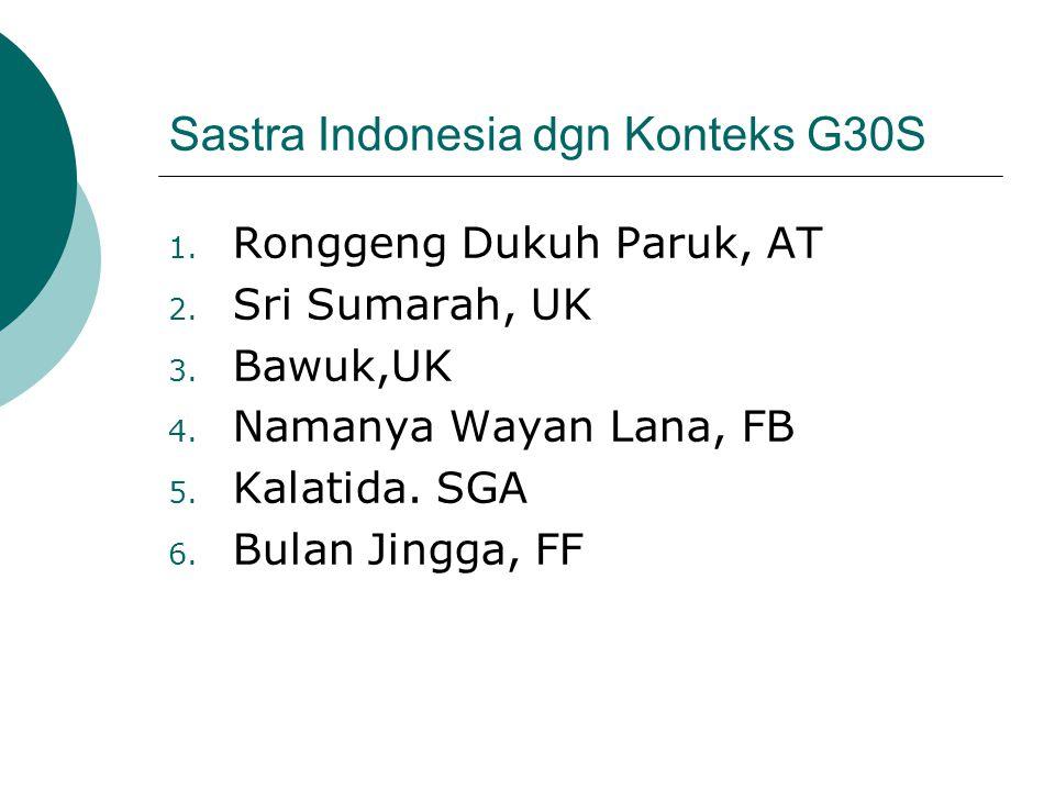 Sastra Indonesia dgn Konteks G30S 1. Ronggeng Dukuh Paruk, AT 2. Sri Sumarah, UK 3. Bawuk,UK 4. Namanya Wayan Lana, FB 5. Kalatida. SGA 6. Bulan Jingg