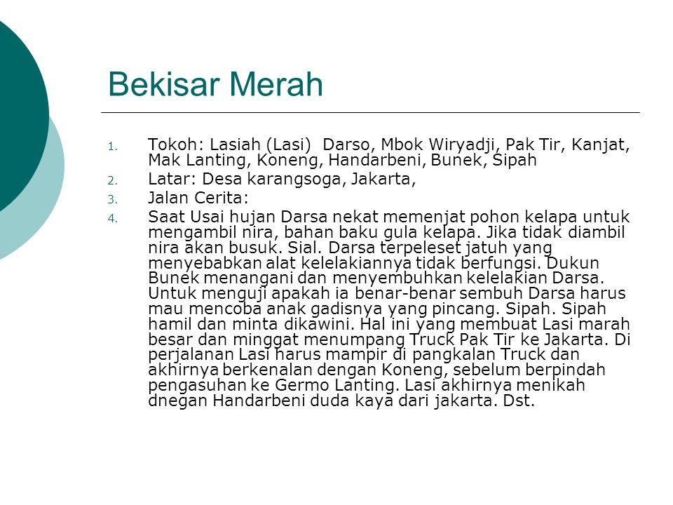 Bekisar Merah 1. Tokoh: Lasiah (Lasi) Darso, Mbok Wiryadji, Pak Tir, Kanjat, Mak Lanting, Koneng, Handarbeni, Bunek, Sipah 2. Latar: Desa karangsoga,