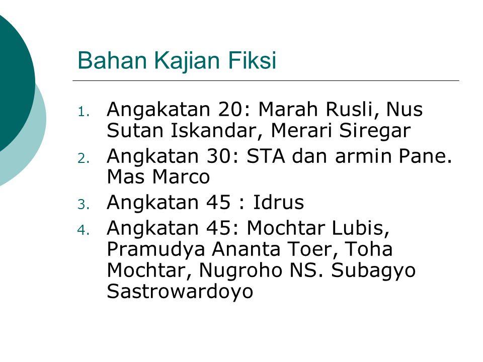Bahan Kajian Fiksi 1. Angakatan 20: Marah Rusli, Nus Sutan Iskandar, Merari Siregar 2. Angkatan 30: STA dan armin Pane. Mas Marco 3. Angkatan 45 : Idr