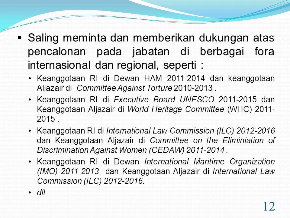 12  Saling meminta dan memberikan dukungan atas pencalonan pada jabatan di berbagai fora internasional dan regional, seperti : •Keanggotaan RI di Dewan HAM 2011-2014 dan keanggotaan Aljazair di Committee Against Torture 2010-2013.