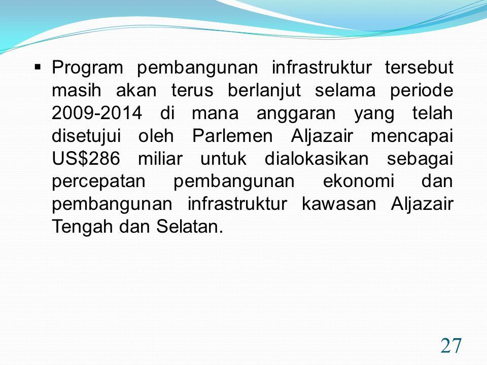 27  Program pembangunan infrastruktur tersebut masih akan terus berlanjut selama periode 2009-2014 di mana anggaran yang telah disetujui oleh Parleme