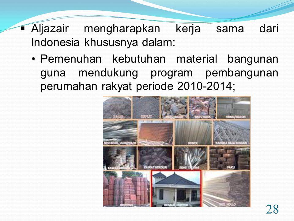 28  Aljazair mengharapkan kerja sama dari Indonesia khususnya dalam: •Pemenuhan kebutuhan material bangunan guna mendukung program pembangunan perumahan rakyat periode 2010-2014;
