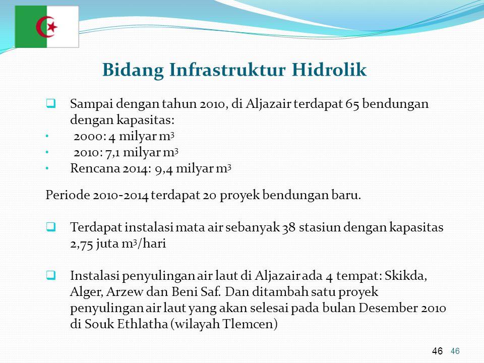 46 Bidang Infrastruktur Hidrolik  Sampai dengan tahun 2010, di Aljazair terdapat 65 bendungan dengan kapasitas: • 2000: 4 milyar m 3 • 2010: 7,1 milyar m 3 • Rencana 2014: 9,4 milyar m 3 Periode 2010-2014 terdapat 20 proyek bendungan baru.