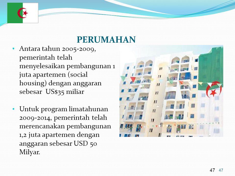 47 PERUMAHAN • Antara tahun 2005-2009, pemerintah telah menyelesaikan pembangunan 1 juta apartemen (social housing) dengan anggaran sebesar US$35 miliar • Untuk program limatahunan 2009-2014, pemerintah telah merencanakan pembangunan 1,2 juta apartemen dengan anggaran sebesar USD 50 Milyar.