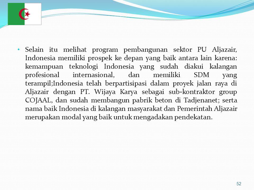 52 • Selain itu melihat program pembangunan sektor PU Aljazair, Indonesia memiliki prospek ke depan yang baik antara lain karena: kemampuan teknologi Indonesia yang sudah diakui kalangan profesional internasional, dan memiliki SDM yang terampil;Indonesia telah berpartisipasi dalam proyek jalan raya di Aljazair dengan PT.