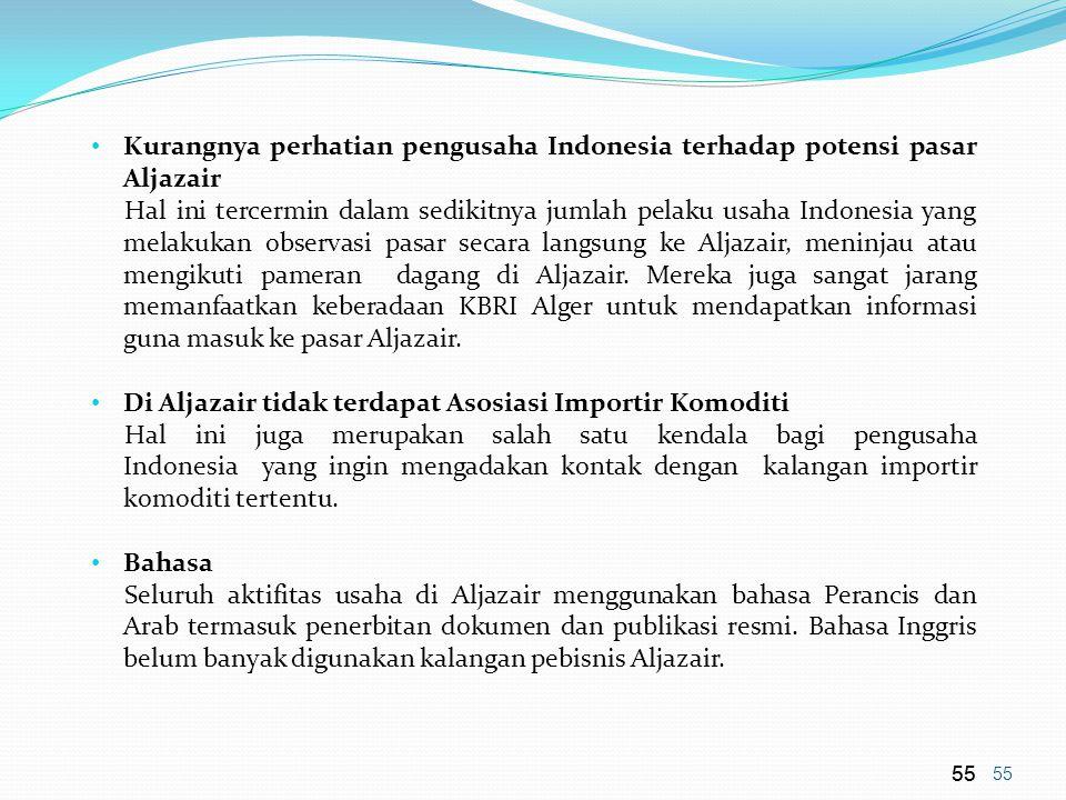 55 • Kurangnya perhatian pengusaha Indonesia terhadap potensi pasar Aljazair Hal ini tercermin dalam sedikitnya jumlah pelaku usaha Indonesia yang melakukan observasi pasar secara langsung ke Aljazair, meninjau atau mengikuti pameran dagang di Aljazair.