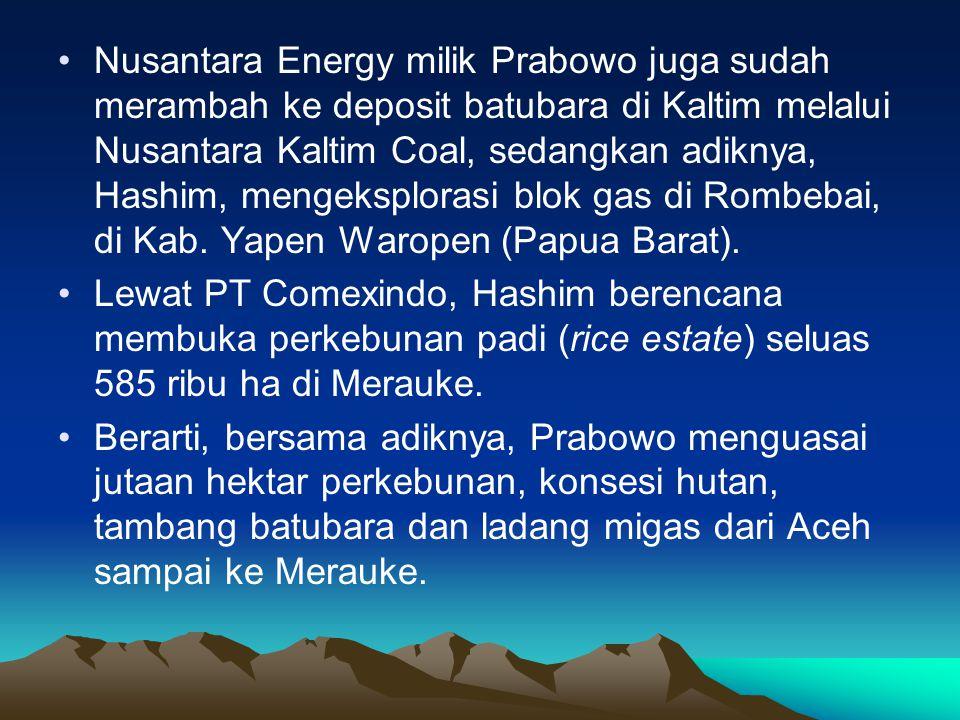 •Nusantara Energy milik Prabowo juga sudah merambah ke deposit batubara di Kaltim melalui Nusantara Kaltim Coal, sedangkan adiknya, Hashim, mengeksplorasi blok gas di Rombebai, di Kab.