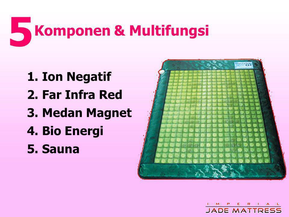 Komponen & Multifungsi 5 1. Ion Negatif 2. Far Infra Red 3. Medan Magnet 4. Bio Energi 5. Sauna