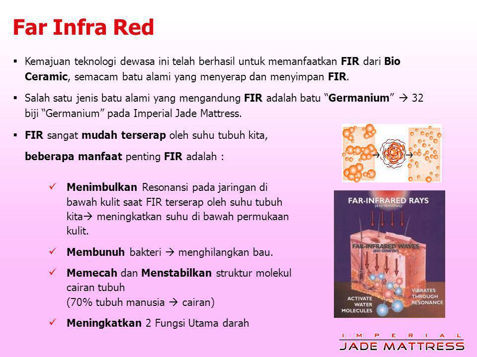 Far Infra Red  Menimbulkan Resonansi pada jaringan di bawah kulit saat FIR terserap oleh suhu tubuh kita  meningkatkan suhu di bawah permukaan kulit.