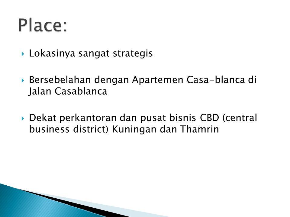  Lokasinya sangat strategis  Bersebelahan dengan Apartemen Casa-blanca di Jalan Casablanca  Dekat perkantoran dan pusat bisnis CBD (central busines
