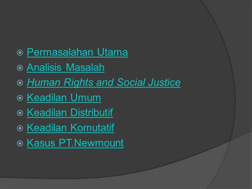  Permasalahan Utama Permasalahan Utama  Analisis Masalah Analisis Masalah  Human Rights and Social Justice Human Rights and Social Justice  Keadil