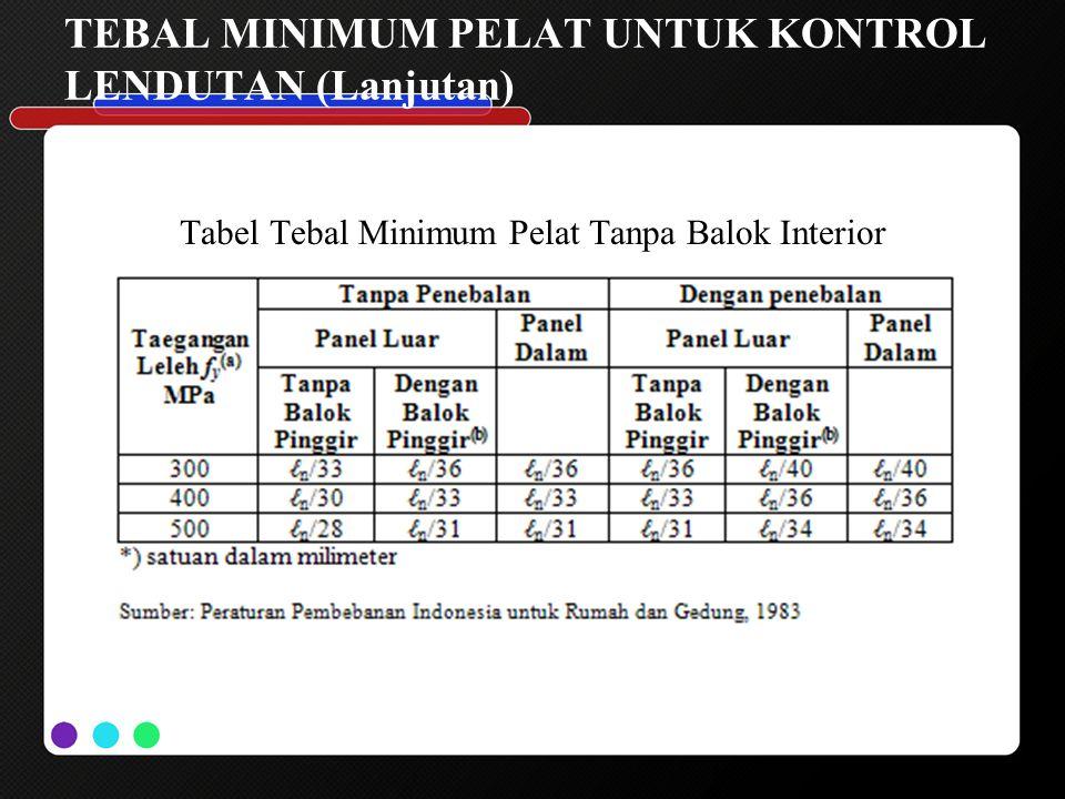 TEBAL MINIMUM PELAT UNTUK KONTROL LENDUTAN (Lanjutan) Tabel Tebal Minimum Pelat Tanpa Balok Interior