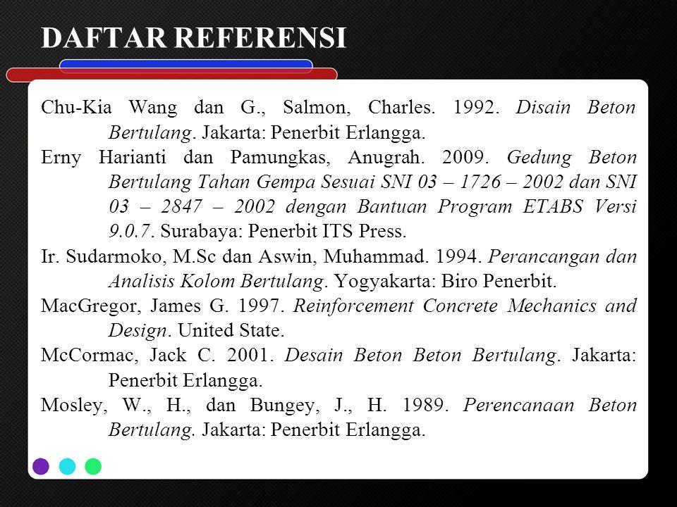 DAFTAR REFERENSI Chu-Kia Wang dan G., Salmon, Charles. 1992. Disain Beton Bertulang. Jakarta: Penerbit Erlangga. Erny Harianti dan Pamungkas, Anugrah.
