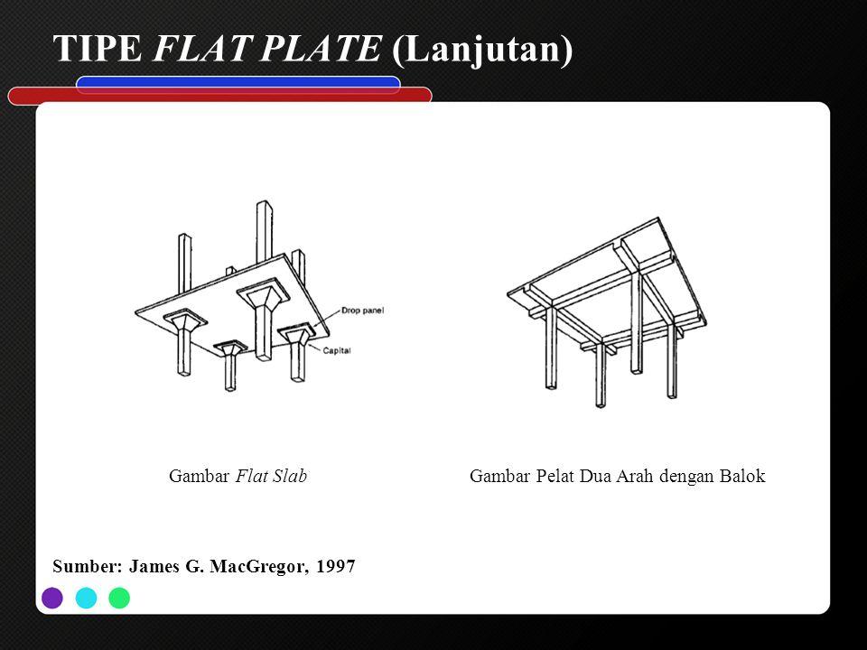 TIPE FLAT PLATE (Lanjutan) Gambar Flat SlabGambar Pelat Dua Arah dengan Balok Sumber: James G. MacGregor, 1997