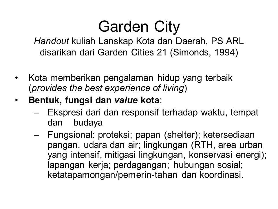 Garden City Handout kuliah Lanskap Kota dan Daerah, PS ARL disarikan dari Garden Cities 21 (Simonds, 1994) •Kota memberikan pengalaman hidup yang terb