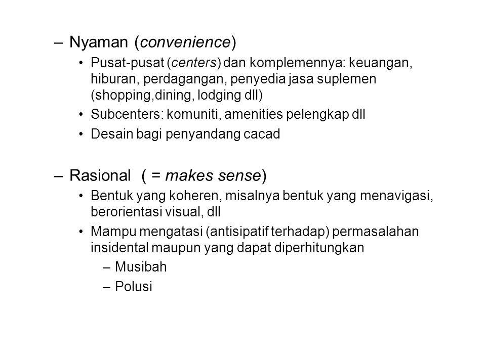 –Nyaman (convenience) •Pusat-pusat (centers) dan komplemennya: keuangan, hiburan, perdagangan, penyedia jasa suplemen (shopping,dining, lodging dll) •