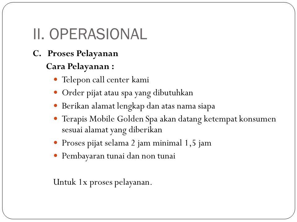 II. OPERASIONAL C. Proses Pelayanan Cara Pelayanan :  Telepon call center kami  Order pijat atau spa yang dibutuhkan  Berikan alamat lengkap dan at