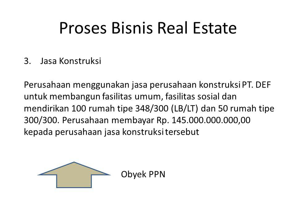 Proses Bisnis Real Estate Obyek PPN 3.Jasa Konstruksi Perusahaan menggunakan jasa perusahaan konstruksi PT. DEF untuk membangun fasilitas umum, fasili