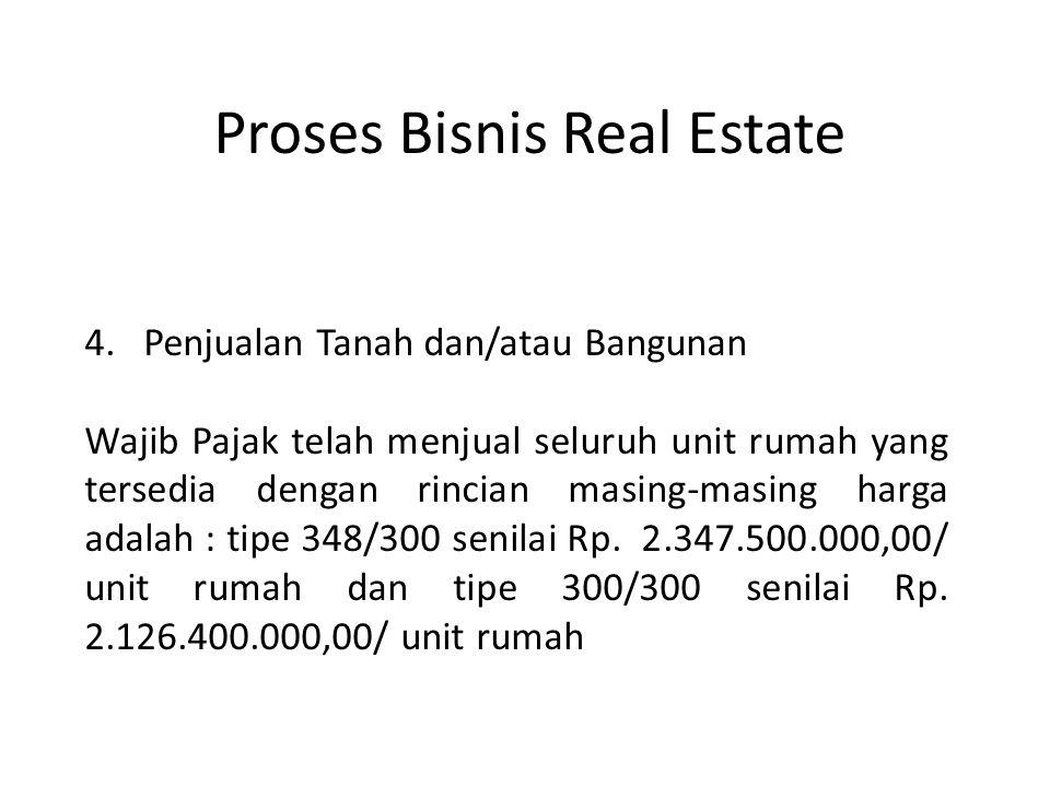 4.Penjualan Tanah dan/atau Bangunan Wajib Pajak telah menjual seluruh unit rumah yang tersedia dengan rincian masing-masing harga adalah : tipe 348/30