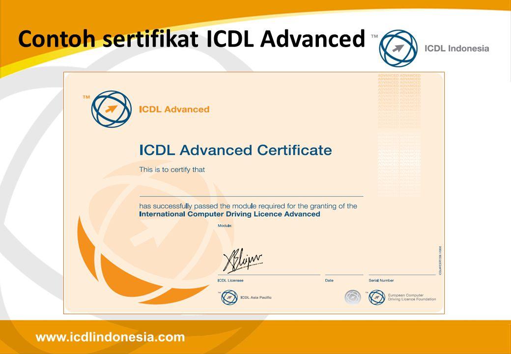 Contoh sertifikat ICDL Advanced