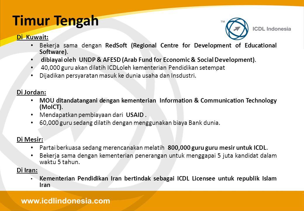 Di Kuwait: • Bekerja sama dengan RedSoft (Regional Centre for Development of Educational Software). • dibiayai oleh UNDP & AFESD (Arab Fund for Econom