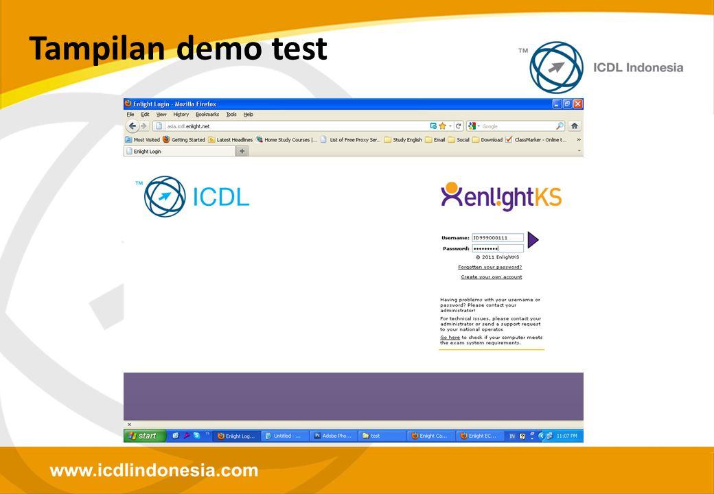 Tampilan demo test