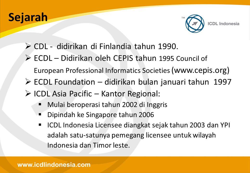Sejarah  CDL - didirikan di Finlandia tahun 1990.  ECDL – Didirikan oleh CEPIS tahun 1995 Council of European Professional Informatics Societies (ww