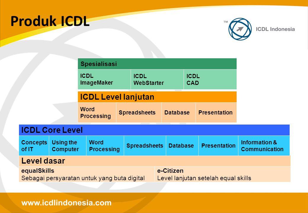 Produk ICDL Level dasar e-Citizen Level lanjutan setelah equal skills equalSkills Sebagai persyaratan untuk yang buta digital ICDL Core Level Concepts
