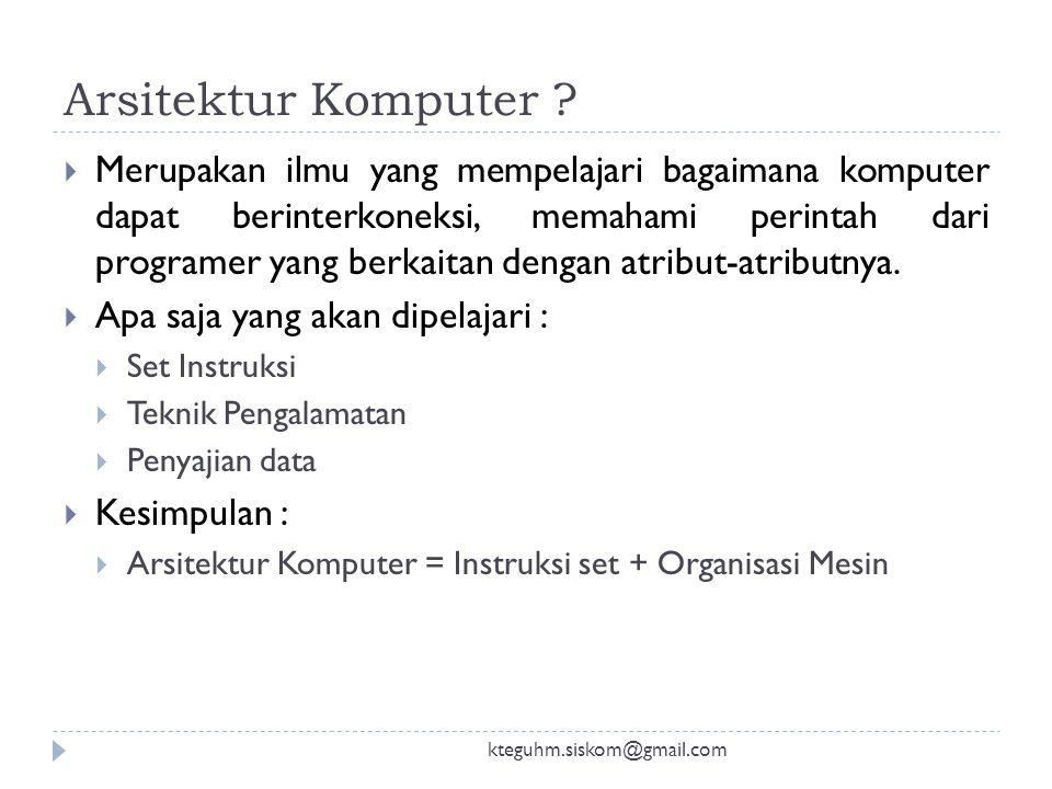 Menurut Anda : Arsitektur Komputer? kteguhm.siskom@gmail.com