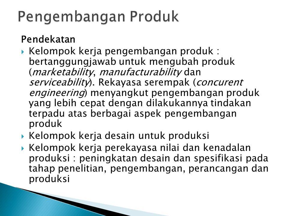 Pendekatan  Kelompok kerja pengembangan produk : bertanggungjawab untuk mengubah produk (marketability, manufacturability dan serviceability). Rekaya