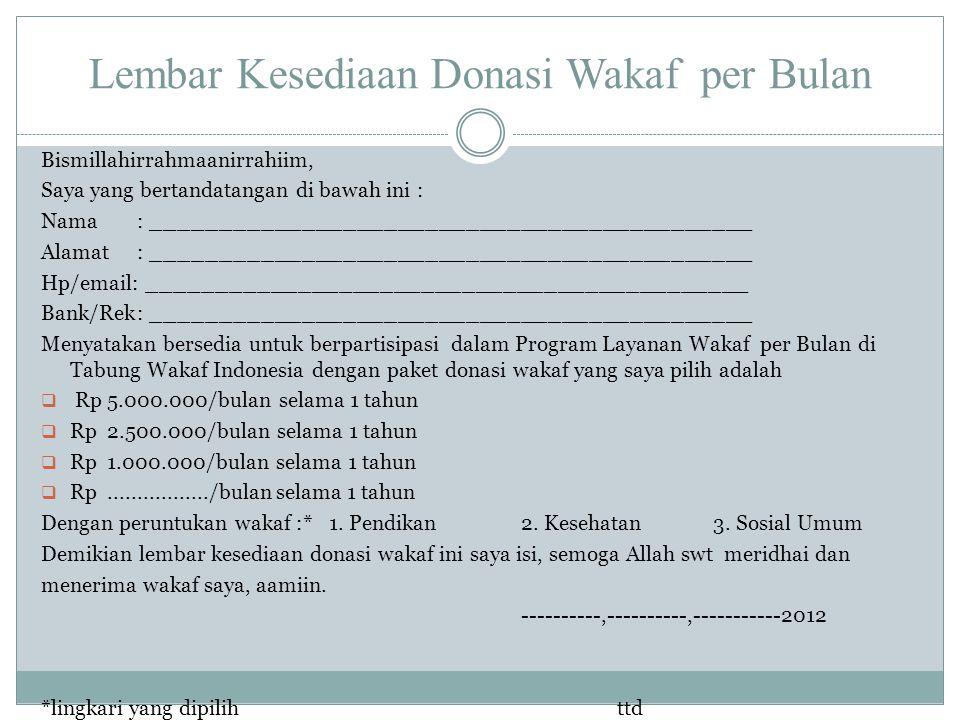 Lembar Kesediaan Donasi Wakaf per Bulan Bismillahirrahmaanirrahiim, Saya yang bertandatangan di bawah ini : Nama: ____________________________________
