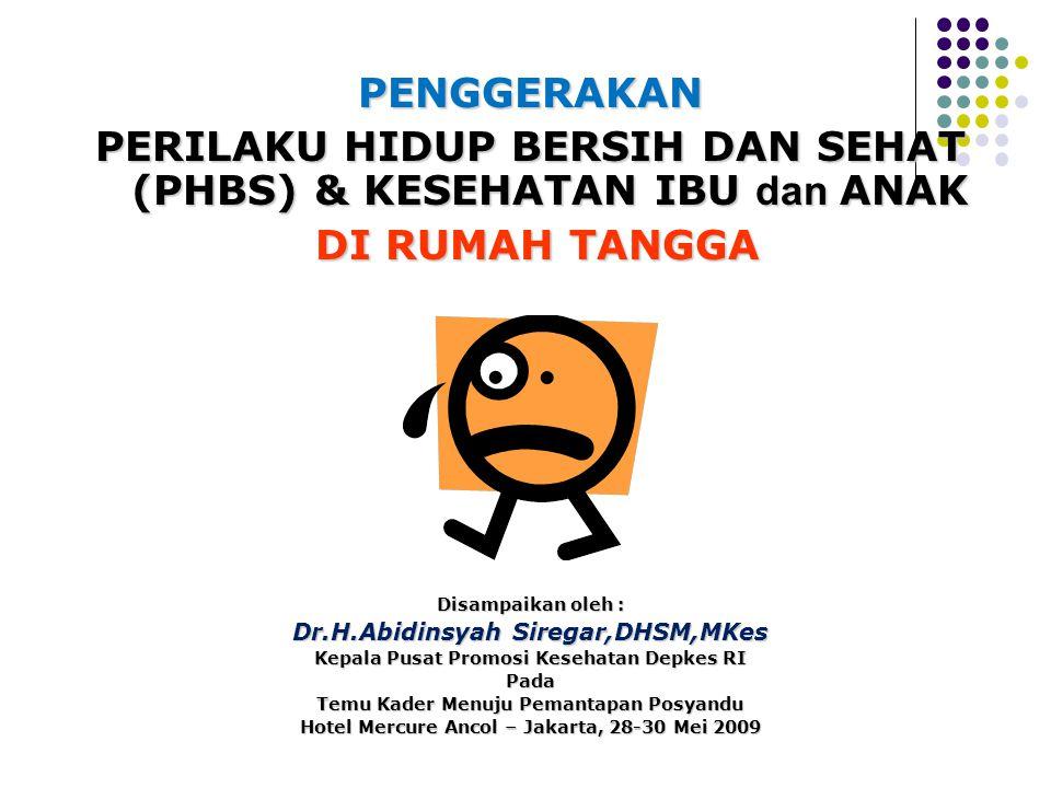 PENGGERAKAN PERILAKU HIDUP BERSIH DAN SEHAT (PHBS) & KESEHATAN IBU dan ANAK DI RUMAH TANGGA DI RUMAH TANGGA Disampaikan oleh : Dr.H.Abidinsyah Siregar