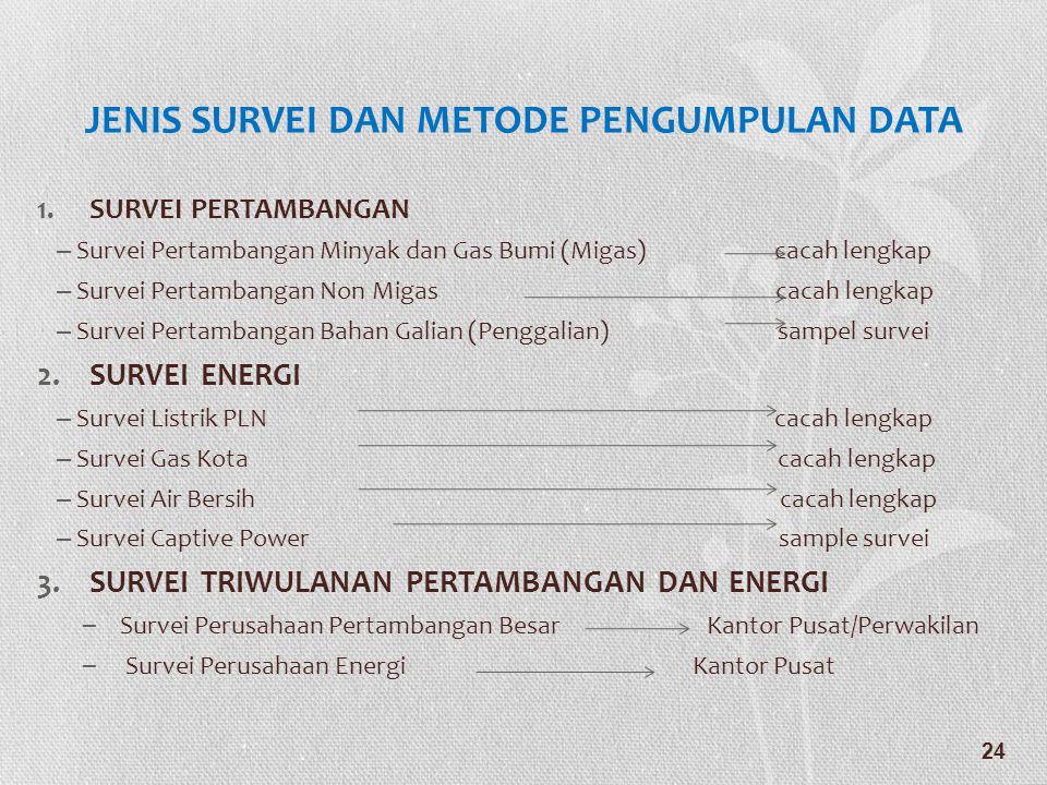 JENIS SURVEI DAN METODE PENGUMPULAN DATA 1.SURVEI PERTAMBANGAN – Survei Pertambangan Minyak dan Gas Bumi (Migas) cacah lengkap – Survei Pertambangan N