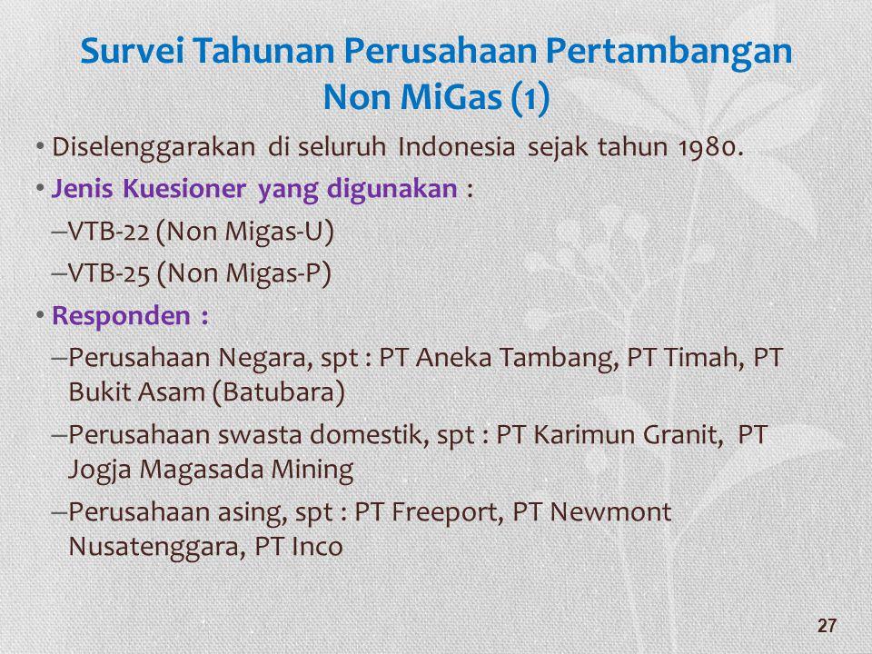 Survei Tahunan Perusahaan Pertambangan Non MiGas (1) • Diselenggarakan di seluruh Indonesia sejak tahun 1980. • Jenis Kuesioner yang digunakan : – VTB