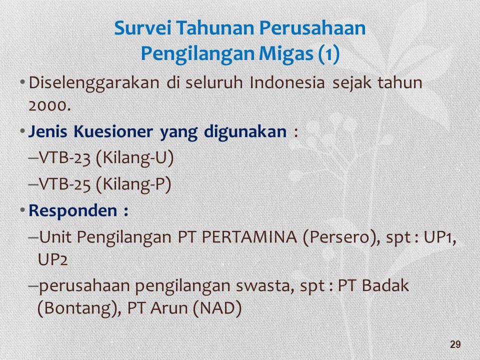 Survei Tahunan Perusahaan Pengilangan Migas (1) • Diselenggarakan di seluruh Indonesia sejak tahun 2000. • Jenis Kuesioner yang digunakan : – VTB-23 (