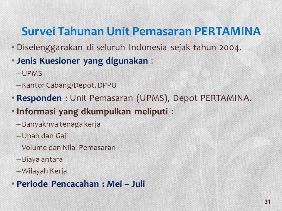 Survei Tahunan Unit Pemasaran PERTAMINA • Diselenggarakan di seluruh Indonesia sejak tahun 2004. • Jenis Kuesioner yang digunakan : – UPMS – Kantor Ca