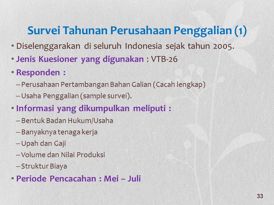Survei Tahunan Perusahaan Penggalian (1) • Diselenggarakan di seluruh Indonesia sejak tahun 2005. • Jenis Kuesioner yang digunakan : VTB-26 • Responde