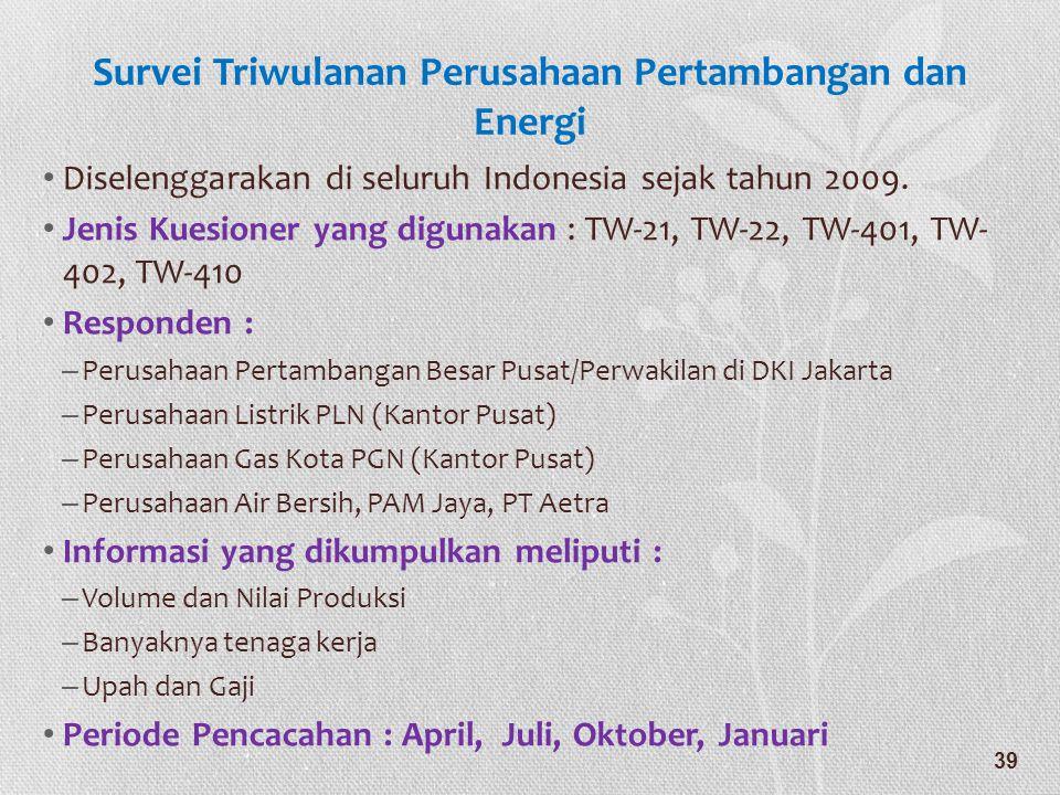 Survei Triwulanan Perusahaan Pertambangan dan Energi • Diselenggarakan di seluruh Indonesia sejak tahun 2009. • Jenis Kuesioner yang digunakan : TW-21