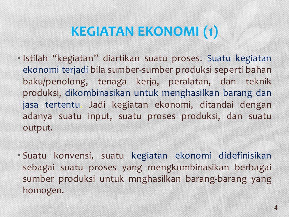 """KEGIATAN EKONOMI (1) • Istilah """"kegiatan"""" diartikan suatu proses. Suatu kegiatan ekonomi terjadi bila sumber-sumber produksi seperti bahan baku/penolo"""