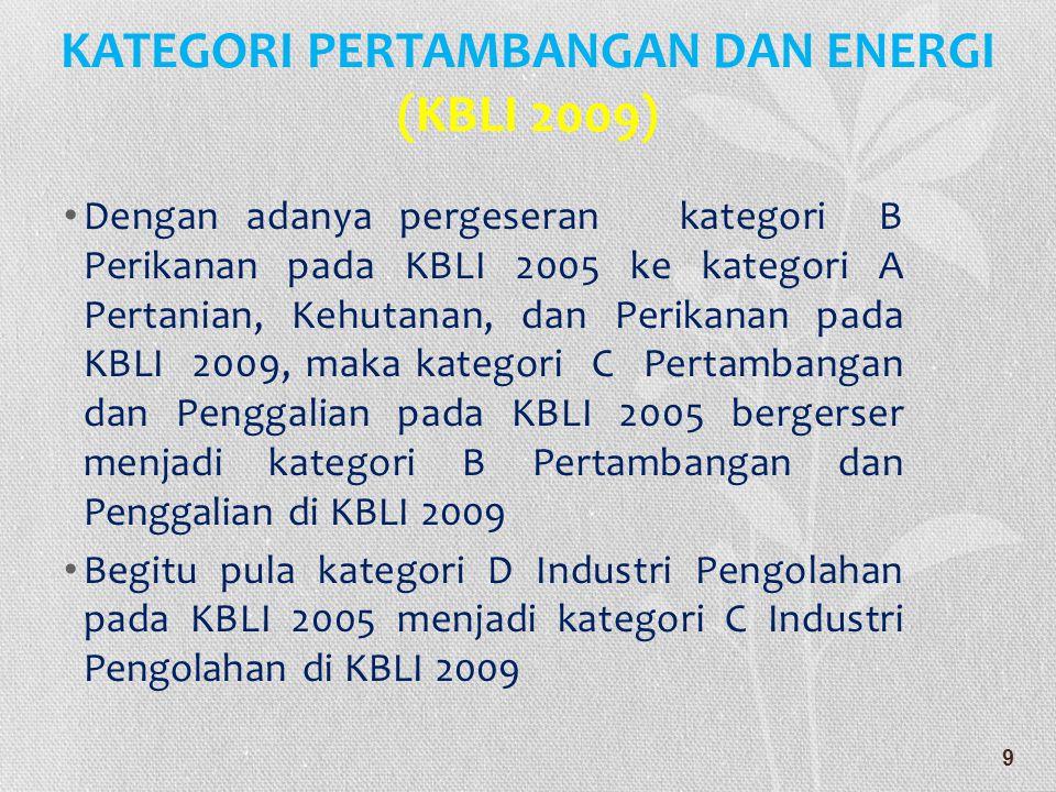 • Kategori E Listrik, Gas dan Air pada KBLI 2005 pecah menjadi 2 : • Kategori D Pengadaan Listrik, Gas, Uap/Air Panas dan Udara Dingin, dan • Kategori E Pengadaan Air, Pengelolaan Sampah dan Daur Ulang, Pembuangan dan Pembersihan Limbah dan Sampah.