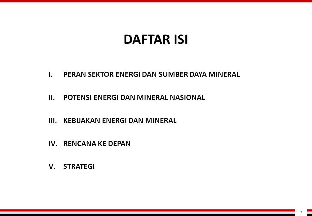 I.PERAN SEKTOR ENERGI DAN SUMBER DAYA MINERAL II.POTENSI ENERGI DAN MINERAL NASIONAL III.KEBIJAKAN ENERGI DAN MINERAL IV.RENCANA KE DEPAN V.STRATEGI D