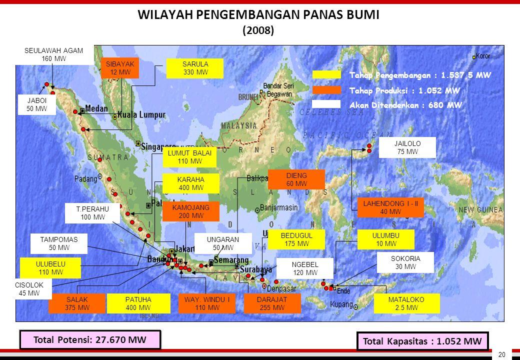 SALAK 375 MW DARAJAT 255 MW WAY. WINDU I 110 MW PATUHA 400 MW KARAHA 400 MW KAMOJANG 200 MW DIENG 60 MW LUMUTBALAI (UNOCAL) SEULAWAH AGAM 160 MW SIBAY