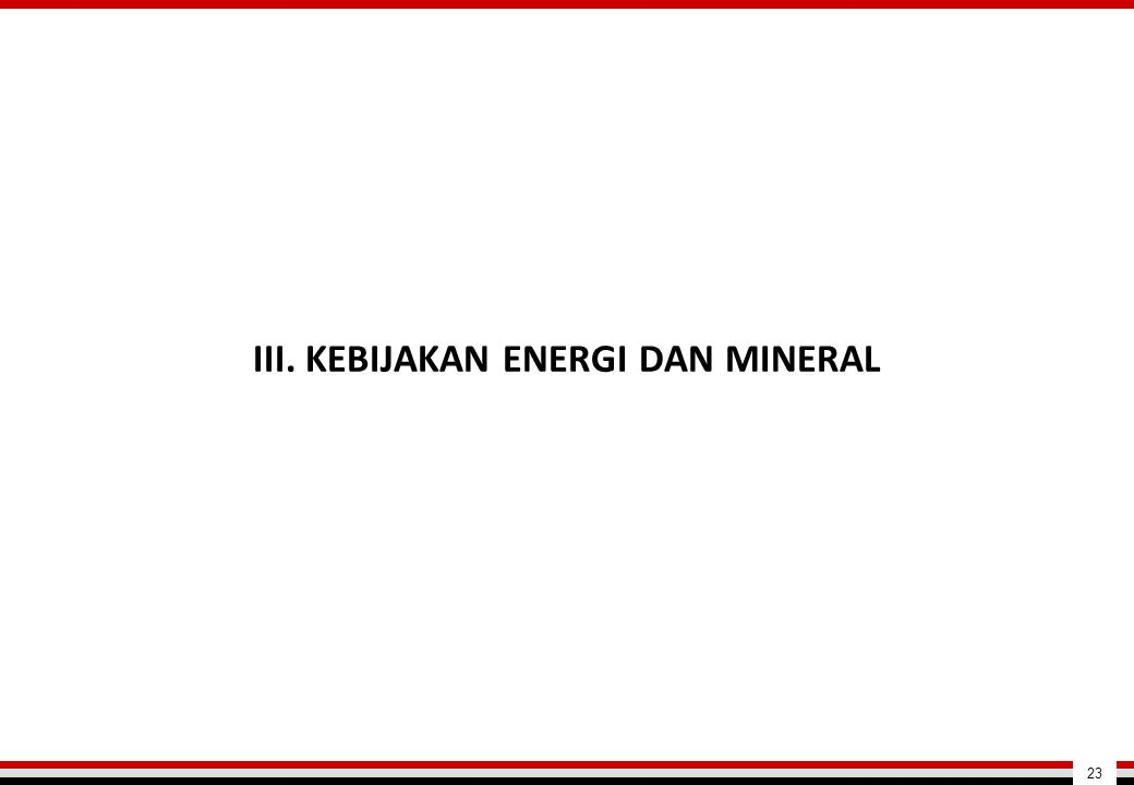 III. KEBIJAKAN ENERGI DAN MINERAL 23