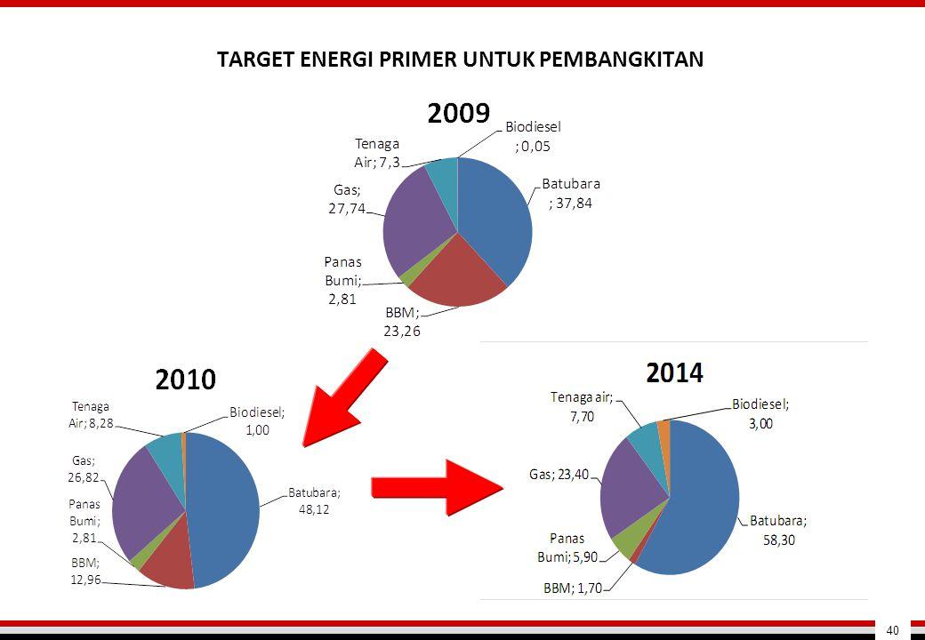 TARGET ENERGI PRIMER UNTUK PEMBANGKITAN 40