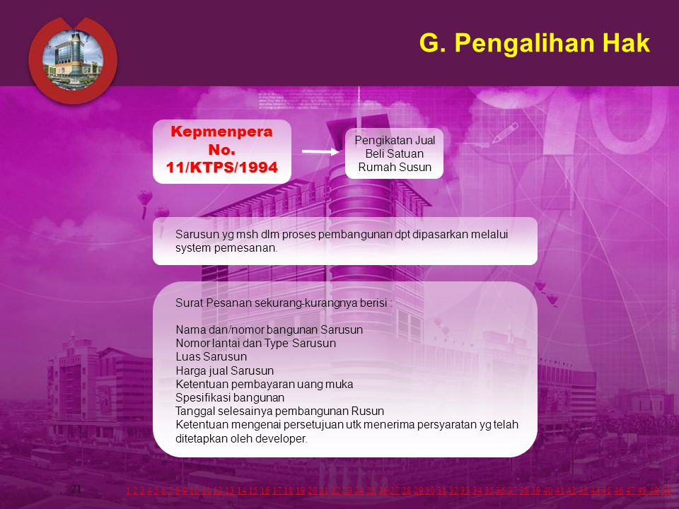 21 G. Pengalihan Hak Surat Pesanan sekurang-kurangnya berisi : Nama dan/nomor bangunan Sarusun Nomor lantai dan Type Sarusun Luas Sarusun Harga jual S