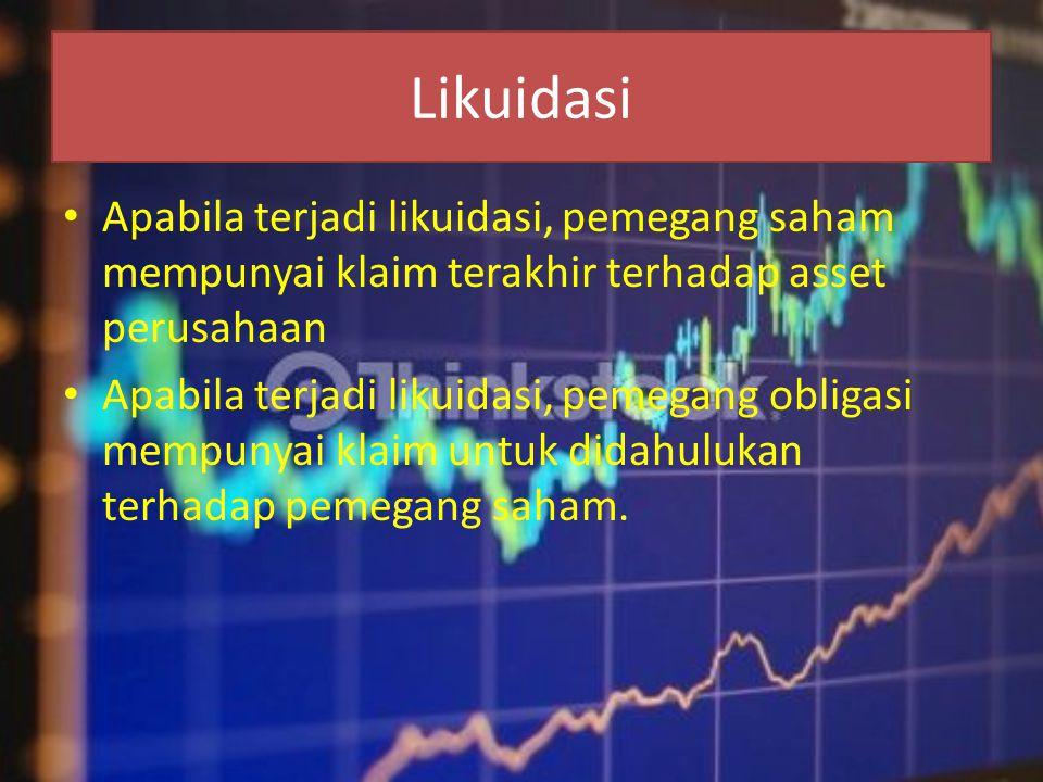 Likuidasi • Apabila terjadi likuidasi, pemegang saham mempunyai klaim terakhir terhadap asset perusahaan • Apabila terjadi likuidasi, pemegang obligas