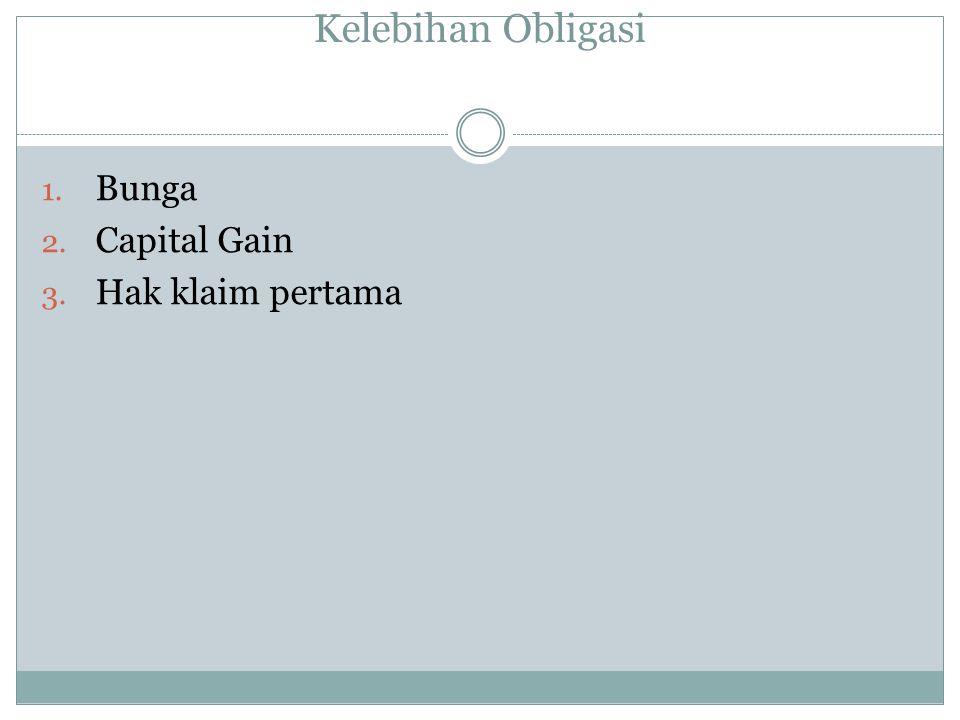 Kelebihan Obligasi 1. Bunga 2. Capital Gain 3. Hak klaim pertama